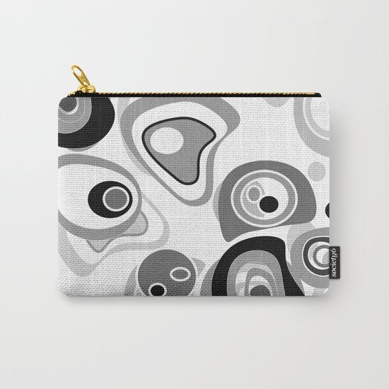 Abstract black white gray polka dot pattern 2 Carry-All Pouch