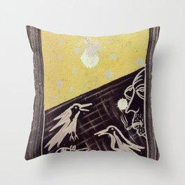 Birds of the moon Throw Pillow