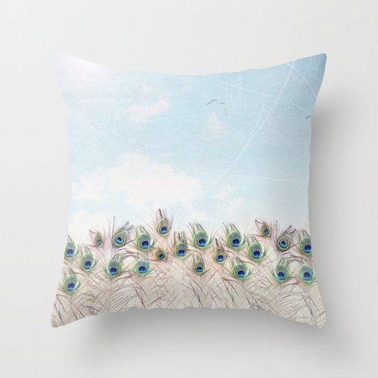 Fly Over A Peacock Field Throw Pillow