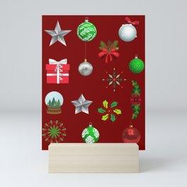 Deep Red Christmas Decorations Mini Art Print