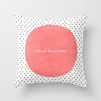dots Throw Pillows featuring HELLO BEAUTIFUL - POLKA DOTS by Allyson Johnson