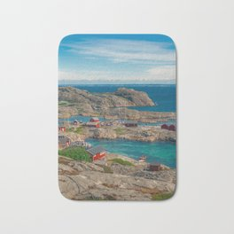 Sleepy Coastal Village Photo Bath Mat