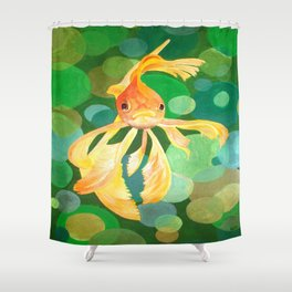 Vermilion Goldfish Swimming In Green Sea of Bubbles Shower Curtain