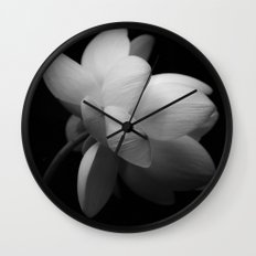 Black & While Lotus II Wall Clock