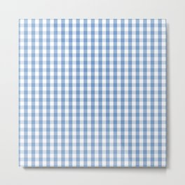 Classic Pale Blue Pastel Gingham Check Metal Print
