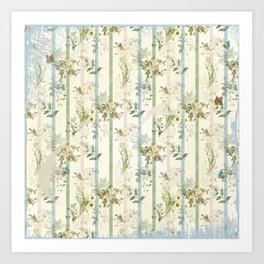 Shabby Chic Blue and Green Stripe Floral with Butterflies Art Print