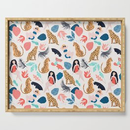 Tropical girls and Cheetah Serving Tray