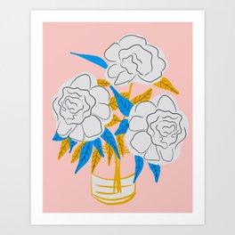 Minimalist flowers in jar Art Print
