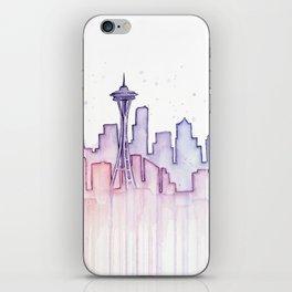 Seattle Skyline Watercolor iPhone Skin
