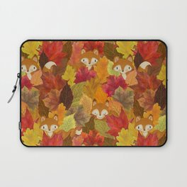 Foxes Hiding in the Fall Leaves - Autumn Fox Laptop Sleeve