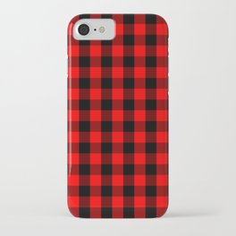 Classic Red and Black Buffalo Check Plaid Tartan iPhone Case