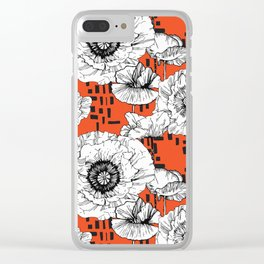 White poppy flowers among geometric Clear iPhone Case