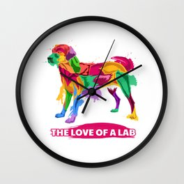 Love Of A Labrador Retriever Gift Black And Yellow Lab Gift Print Wall Clock