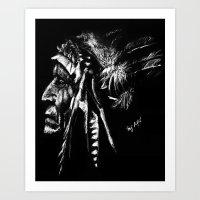native american Art Prints featuring Native American by Sandy Elizabeth