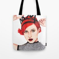 hayley williams Tote Bags featuring Hayley Williams  by Emily Smith (Emzstuff)
