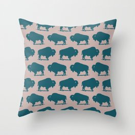 Buffalo Bison Pattern 263 Green and Beige Throw Pillow