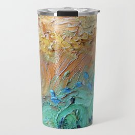 Wheat Field with Cypresses Brush Detail by Vincent van Gogh Travel Mug