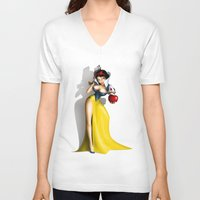snow white V-neck T-shirts featuring Snow White by Greg Guillemin