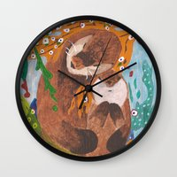 "otters Wall Clocks featuring ""If Klimt Painted Otters"" Transformation Project Final Transformation by Janin Wise"