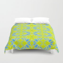 Dark Yellow and Blue Textile Duvet Cover
