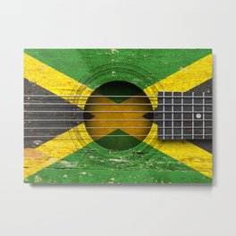 Old Vintage Acoustic Guitar with Jamaican Flag Metal Print