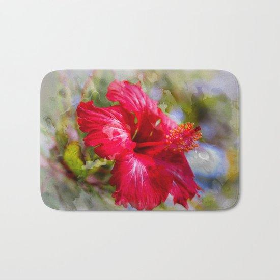 Red Hibiscus Bath Mat