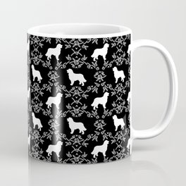 Bernese Mountain Dog florals dog pattern minimal cute gifts for dog lover silhouette black and white Coffee Mug