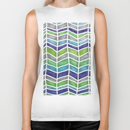 Ups and Downs in Blues and Greens Biker Tank