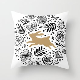 Beige rabbit with black and white floral circle Throw Pillow