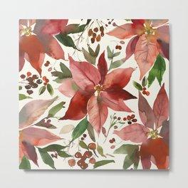 Euphorbia Christmas Watercolor Flowers Metal Print