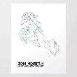 Gore Mountain, NY - Minimalist Trail Art Art Print