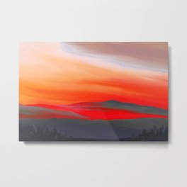 Painting of a Landscape at sunrise Metal Print