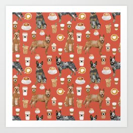 Australian Cattle Dog coffee pet friendly dog breed dog pattern art Art Print