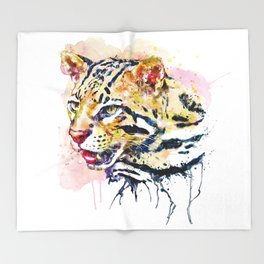 Ocelot Head Throw Blanket