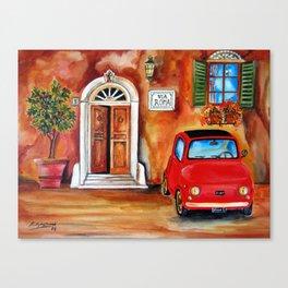 Via Roma Fiat 500 in Trastevere Canvas Print