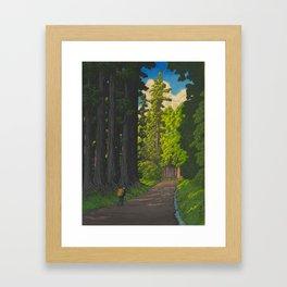 Vintage Japanese Woodblock Print Kawase Hasui Mystical Japanese forest Tall Green Trees Framed Art Print
