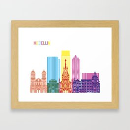 Medellin skyline pop Framed Art Print
