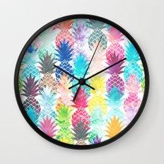 Hawaiian Pineapple Pattern Tropical Watercolor Wall Clock