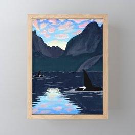 killer whales, lofoten islands Framed Mini Art Print