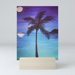 Lone Palm at Night Mini Art Print