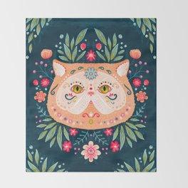 Candied Sugar Skull Kitty Throw Blanket