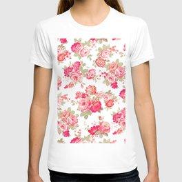 Elise shabby chic on white T-shirt
