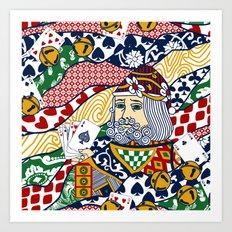 Santa Playing Cards Art Print