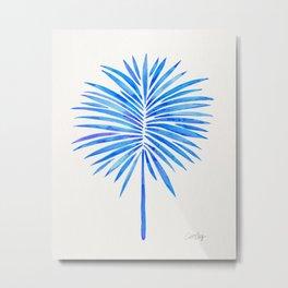Tropical Fan Palm – Blue Palette Metal Print