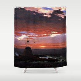 Beacon off Mount Desert Island, Maine by Frederic Edwin Church Shower Curtain