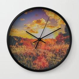 Colorful sunbeams at dusk Wall Clock