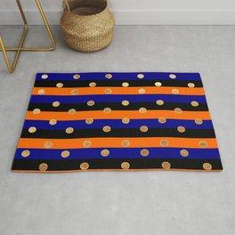 Orange blue and black pattern Rug