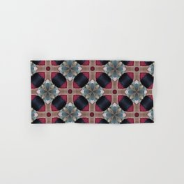 Magenta, Teal, and Navy Blue  Geometric Floral Pattern Hand & Bath Towel