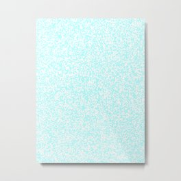 Tiny Spots - White and Celeste Cyan Metal Print