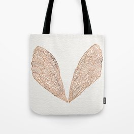 Cicada Wings in Rose Gold Tote Bag